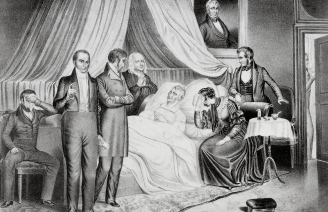 William H. Harrison on His Death Bed with Visitors