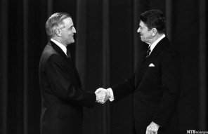 Reagan and Walter Mondale Shaking Hands